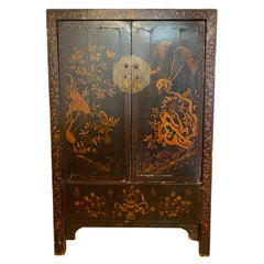 19th Century Ebonized Hand Painted Chinese Tansu Cabinet
