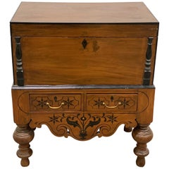 19th Century Ebonized Jackwood British Colonial Box on Stand from British Ceylon