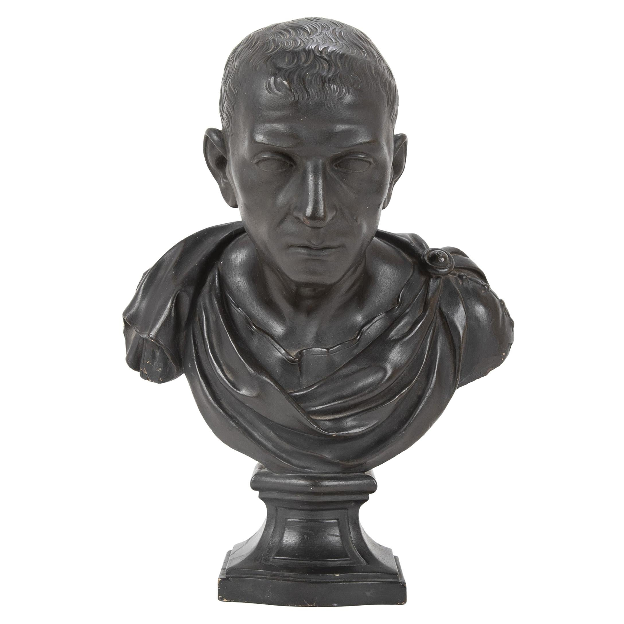 19th Century Ebonized Plaster Bust of Marcus Tulles Cicero