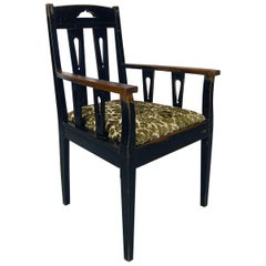 19th Century Ebonized Swedish Arts & Crafts Occasional Country Library Armchair
