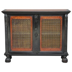 19th Century Ceylonese ebony and amboyna cabinet with brass grill doors