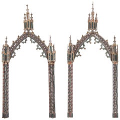 19th Century Ecclesiastical Painted Gothic Arched Frames