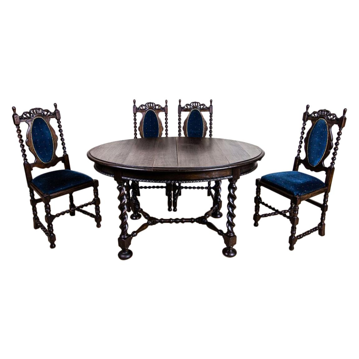Genial 19th Century Eclectic Oak Carved Table With Chairs