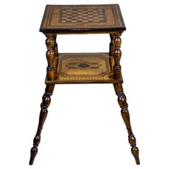 19th Century Eclectic Oak Chess Table