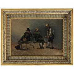 19th Century Eduard Ritter Oil Painting on Wood Panel Interior Genre Scene
