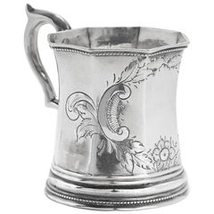 19th Century Edward Augustus Tyler Coin Silver Mug