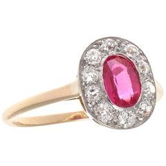 Edwardian Ruby Diamond Platinum Halo Ring