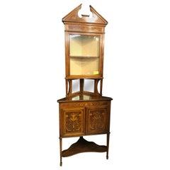 19th Century Edwardian Sheraton Rev Wood Mahogany Inlaid Corner Cupboards, 1890s