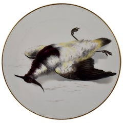 19th Century EF Bodley Staffordshire Dead Game Aesthetic Cabinet Plate, A Plover