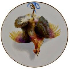 19th Century EF Bodley Staffordshire Dead Game Cabinet Plate, A Hamburgh Fowl
