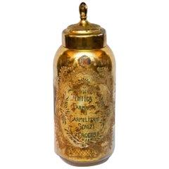 Very Large 19th Century Églomisé Gold Italian Apothecary Jar 24 Inches