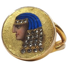 19th Century Egyptian Revival Enamel and Diamond Ring