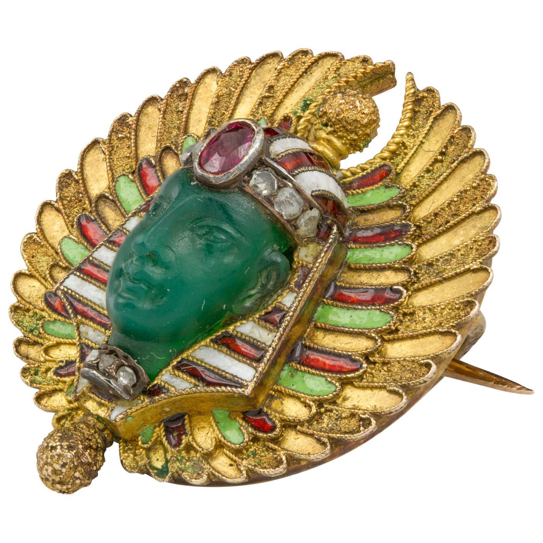 19th Century Egyptian Revival Pharaoh Brooch