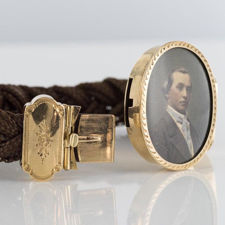 19th Century Elegant Photography 18 Karat Yellow Gold Hair Bracelet For Sale 7