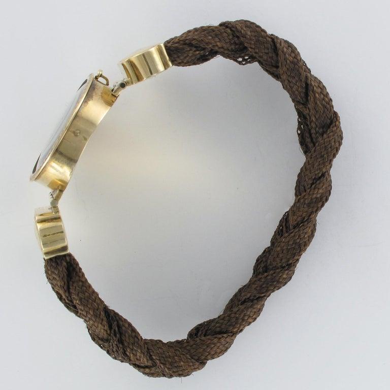 19th Century Elegant Photography 18 Karat Yellow Gold Hair Bracelet For Sale 8
