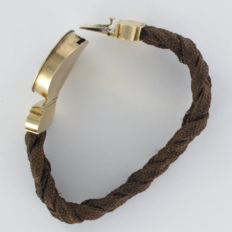 19th Century Elegant Photography 18 Karat Yellow Gold Hair Bracelet For Sale 9