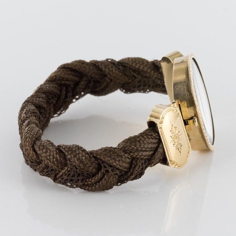 19th Century Elegant Photography 18 Karat Yellow Gold Hair Bracelet For Sale 2