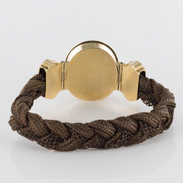 19th Century Elegant Photography 18 Karat Yellow Gold Hair Bracelet For Sale 3