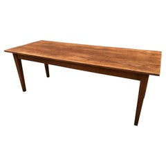 19th Century Elm Antique French Farmhouse Table with Tapered Legs and Drawer