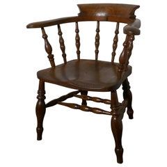 19th Century Elm and Ash Smokers Bow Office or Desk Chair