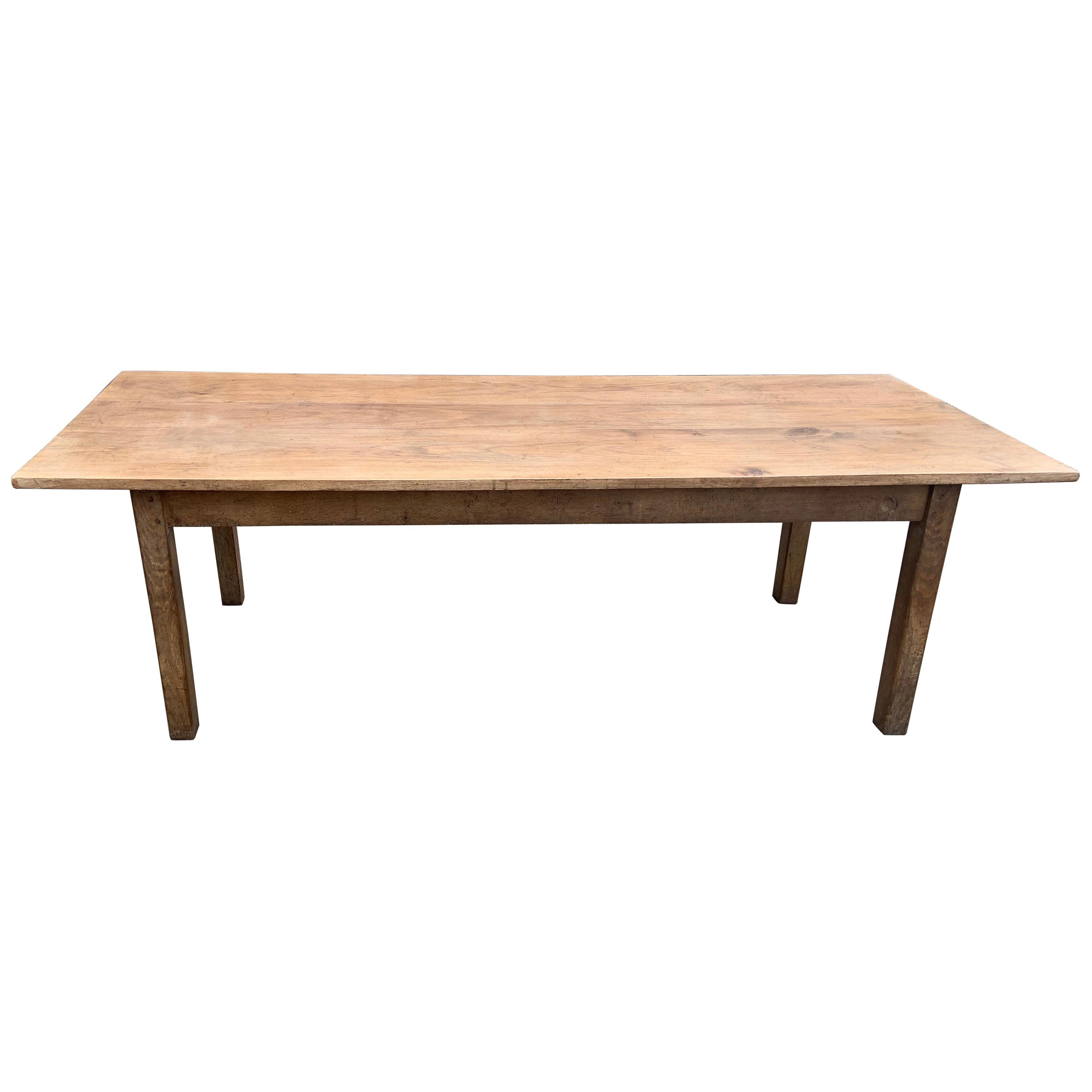 19th Century Elm Farmhouse Table with Square Legs
