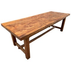 19th Century Elm Thick Top Large Farmhouse Table