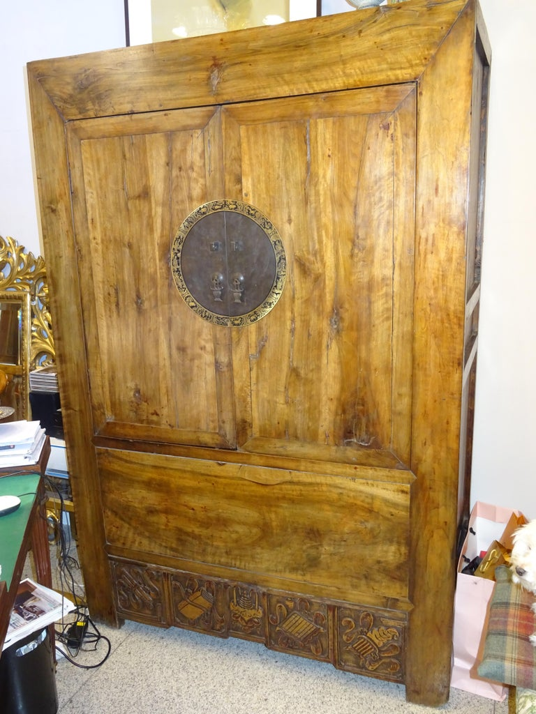 Late 19th Century 19th Century Elmwood and Golden Brass Chinese Wardrobe, circa 1890 For Sale
