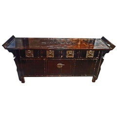19th Century Elmwood Four-Drawer Console Cabinet