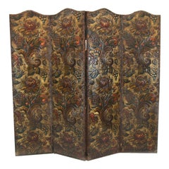 19th Century Embossed Leather Four Fold Screen
