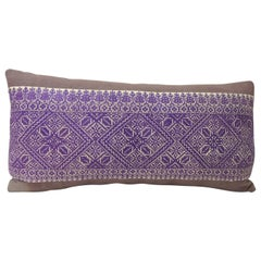 19th Century Embroidered Fez Textile Purple Long Decorative Bolster Pillow