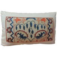 19th Century Embroidered Suzani Lumbar Decorative Pillow