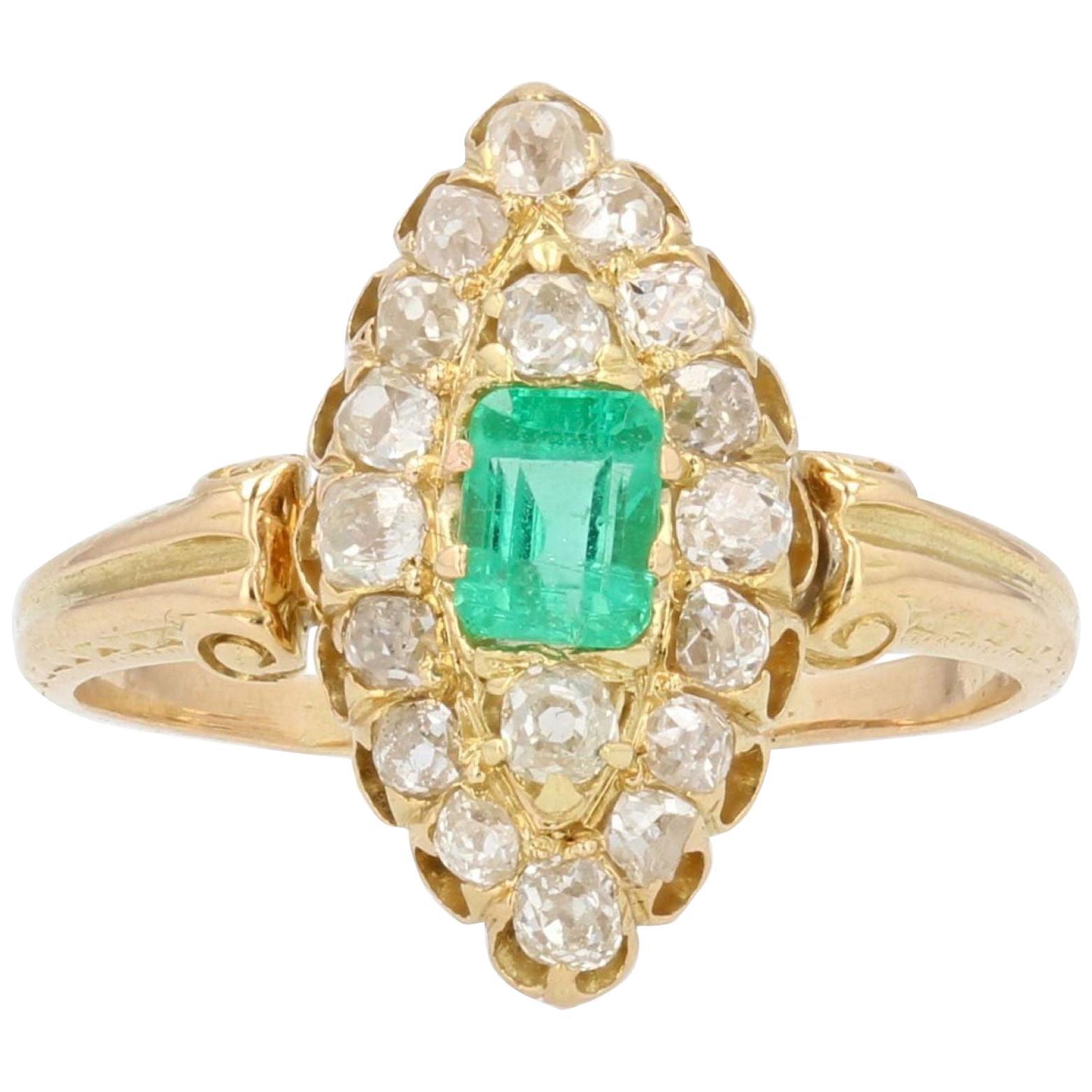19th Century Emerald Diamond 18 Karat Yellow Gold Marquise Ring