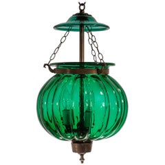 Antique Emerald Green Pumpkin or Melon Bell Jar Lantern