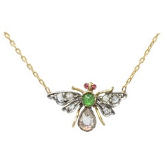 19th Century Emerald Ruby Diamonds 18 Karat Yellow Gold Necklace