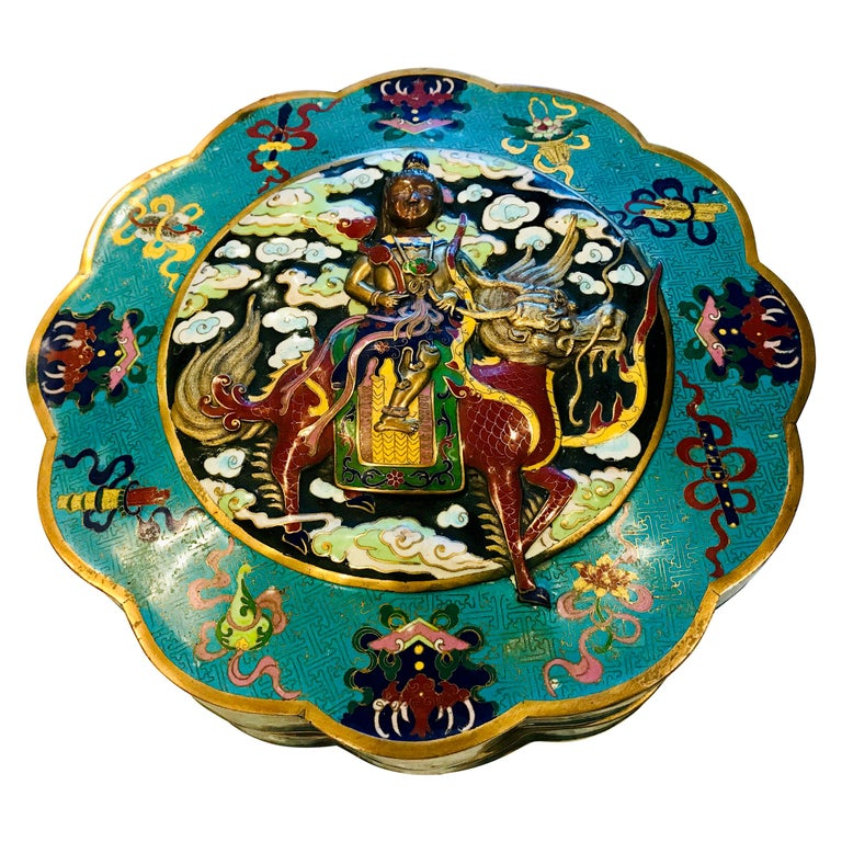19th Century Emperor-on-Dragon and Lucky-Bat Design, Qing Dynasty Cloisonné Box For Sale