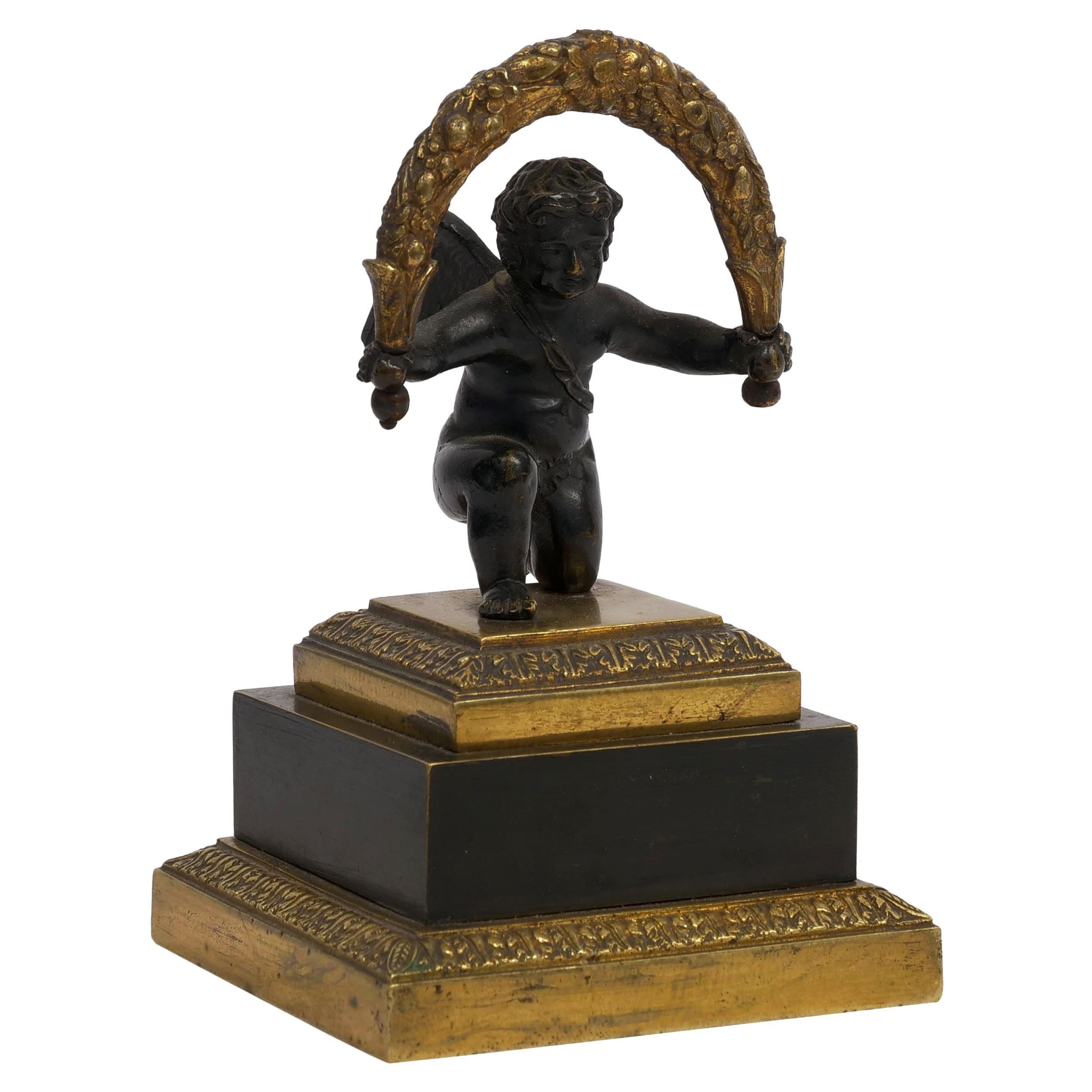 19th Century Empire Antique Bronze Sculpture Paperweight of Cherub