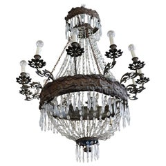 19th Century Empire Bronze and Crystals Luxury Chandelier