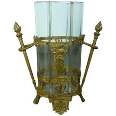 19th Century Empire Bronze Fire-Gilded Crystal Glass Vase