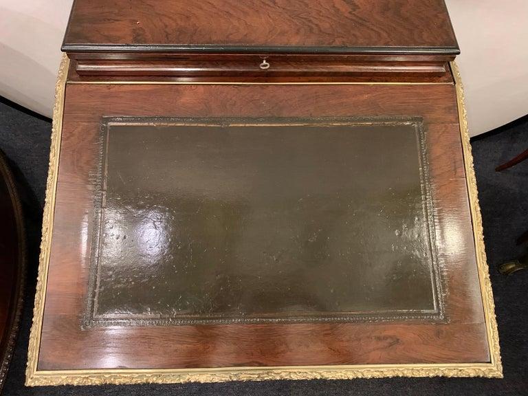 19th Century Empire Bronze Mounted Antique Davenport Desk For Sale 4