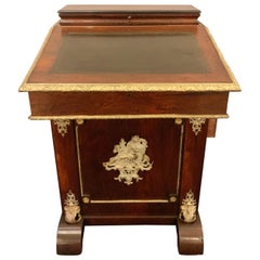 19th Century Empire Bronze Mounted Antique Davenport Desk