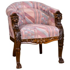 19th Century, Empire Chair with Lion Head, circa 1850-1870 Solid Oak