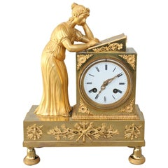 19th Century Empire Clock Representing a Woman Writing