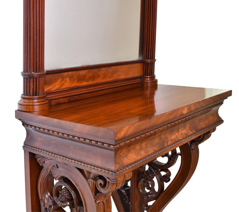 Tall Neoclassical-Style Console & Pier Mirror in Mahogany, Denmark, c. 1830 For Sale 4
