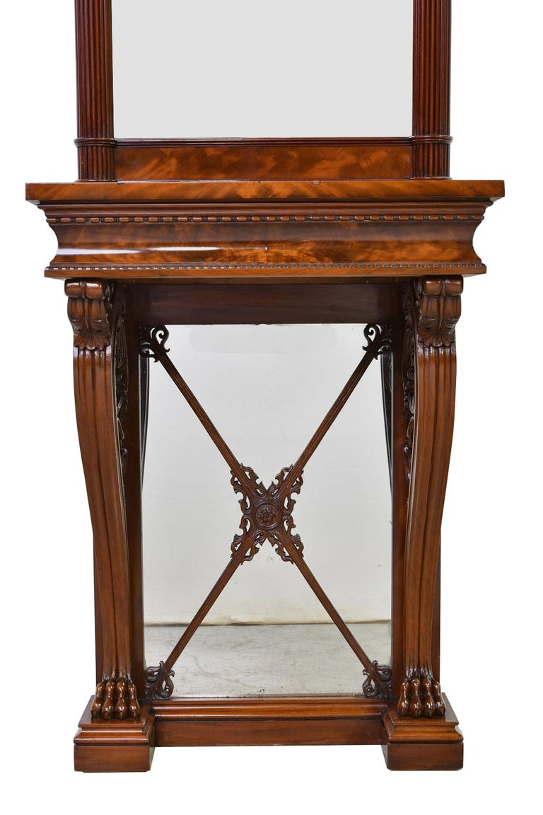 Danish Tall Neoclassical-Style Console & Pier Mirror in Mahogany, Denmark, c. 1830 For Sale