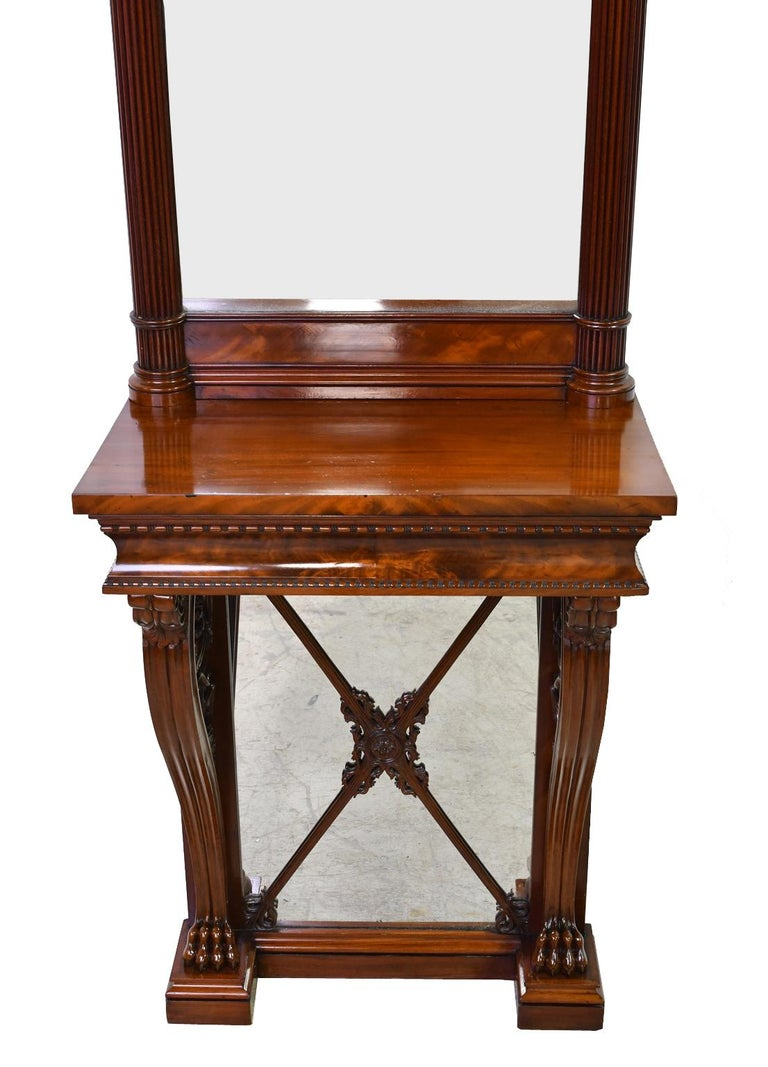 Polished Tall Neoclassical-Style Console & Pier Mirror in Mahogany, Denmark, c. 1830 For Sale