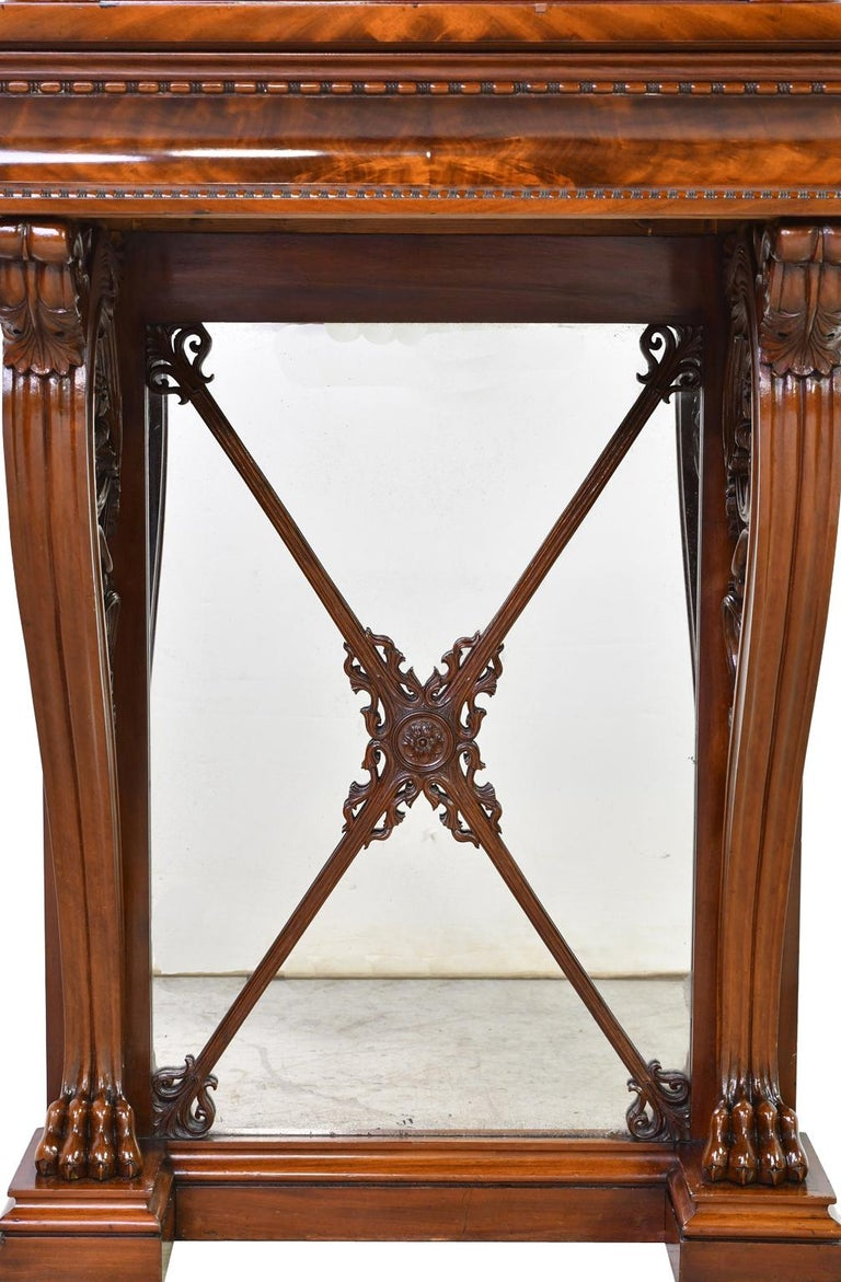 Tall Neoclassical-Style Console & Pier Mirror in Mahogany, Denmark, c. 1830 In Good Condition For Sale In Miami, FL