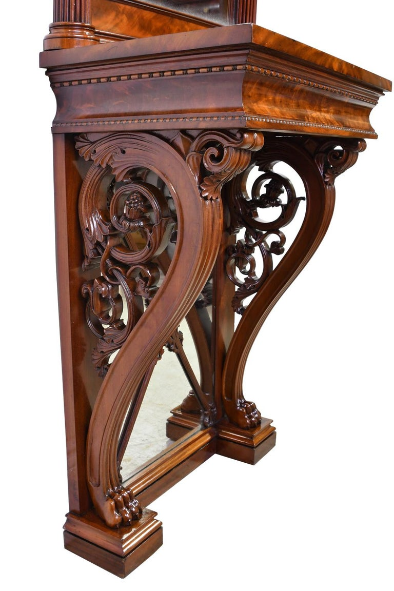 Mid-19th Century Tall Neoclassical-Style Console & Pier Mirror in Mahogany, Denmark, c. 1830 For Sale