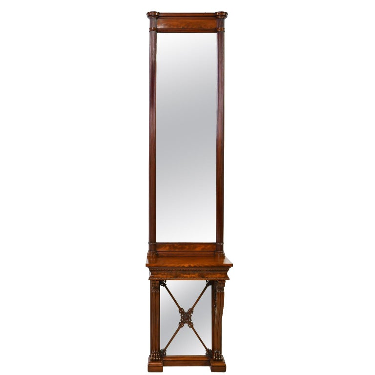 Tall Neoclassical-Style Console & Pier Mirror in Mahogany, Denmark, c. 1830 For Sale
