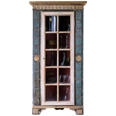 19th Century Empire Corner Vitrine Cabinet
