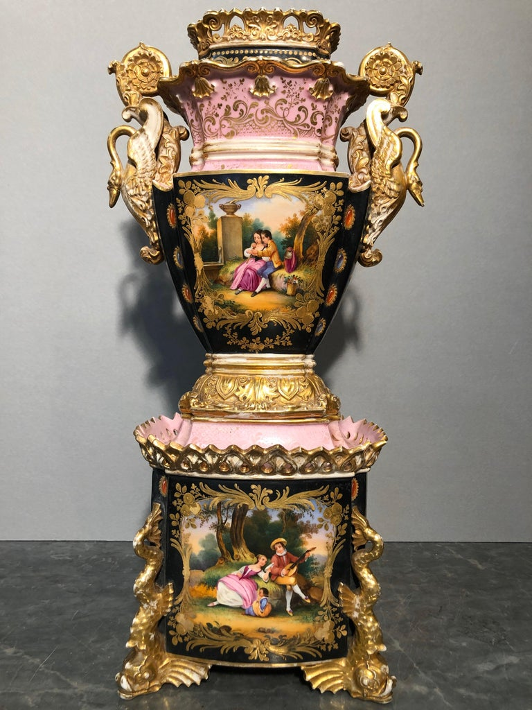 France vase, signed under the rectangular base J.P. Jacob Petit: Paris,Belleville( France). Jacob Petit produced porcelain here from circa 1790. The products have been highly praised and show an individual style. But porcelain was also made in the